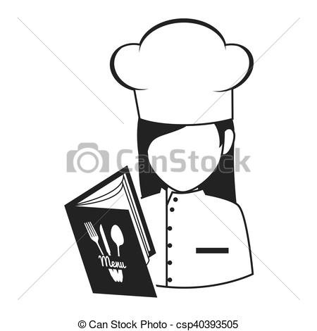 450x470 Avatar Chef Woman. Avatar Food Chef Woman With Menu Book Vector