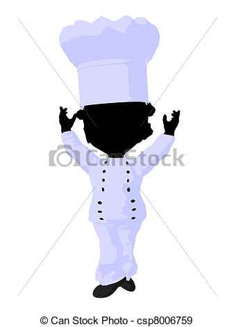 337x470 Little African American Chef Girl Illustration Silhouette