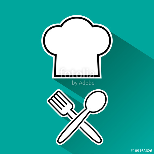 500x500 Menu Icon. Chef Hat And Fork, Spoon. Black And White Silhouette