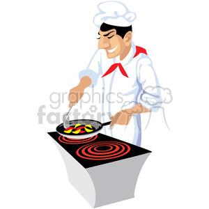 300x300 Royalty Free Cartoon Chef Cooking 393641 Vector Clip Art Image