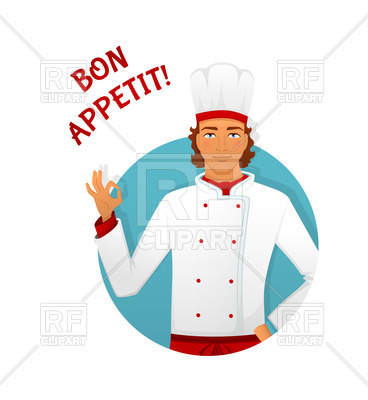 368x400 Cartoon Young Chef In Uniform Says Bon Appetit! Royalty Free