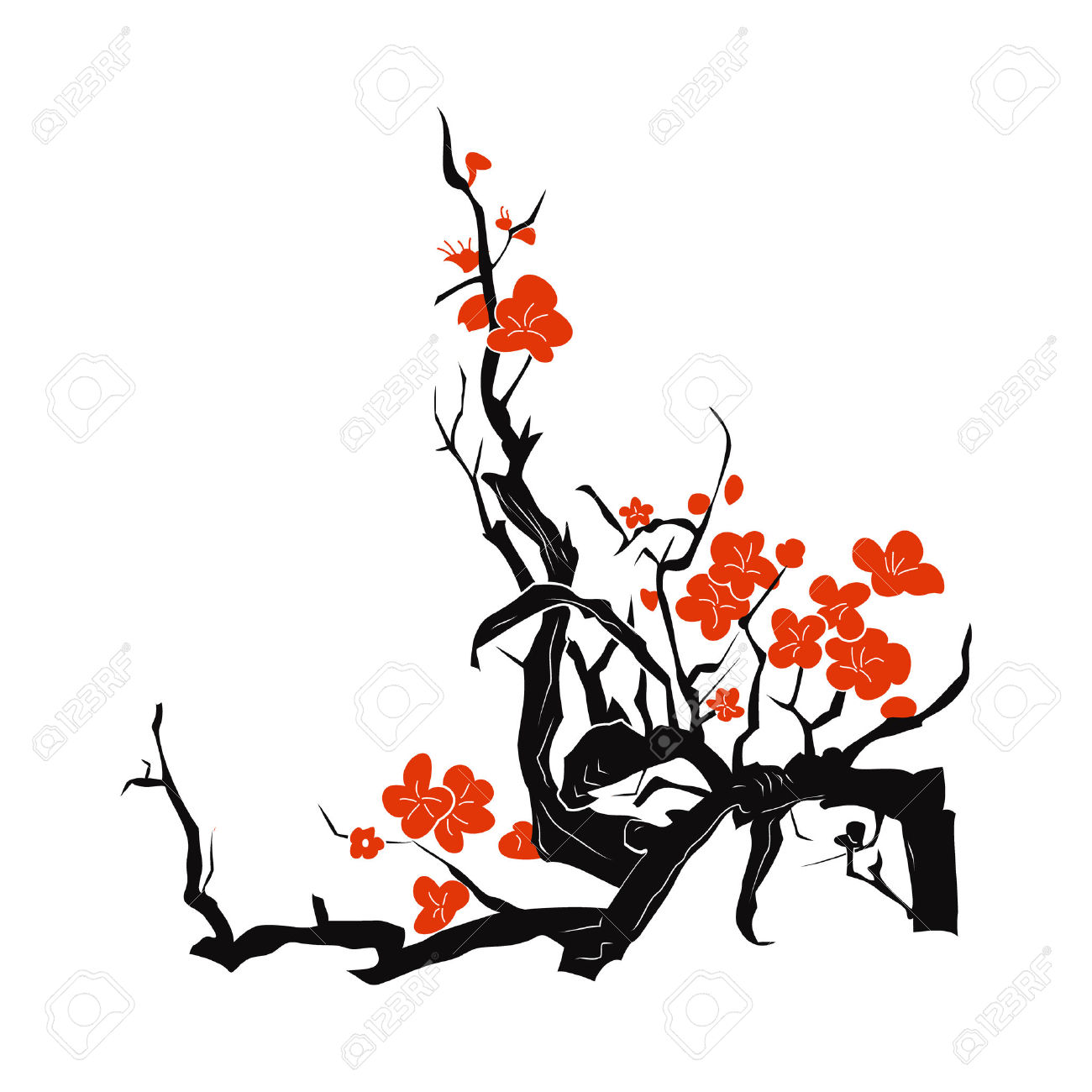 1300x1300 Drawn Ume Blossom Silhouette Many Interesting Cliparts