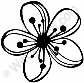 288x284 Cherry Blossom Flower Stencil