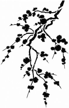 236x369 Illustration With Cherry Tree Flowers Silhouette On White Backgr