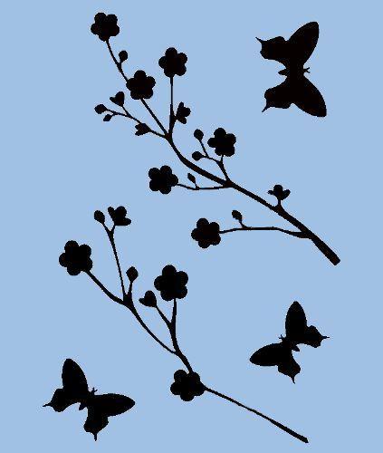 423x500 Butterfly Stencil Butterflies Cherry Blossoms Stencils Template