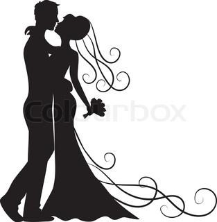 313x320 Wedding Silhouette Clip Art