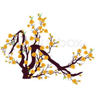 320x285 Cherry Blossom. Sakura Branch Vector Illustration Eps 10. Stock
