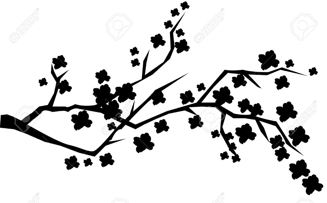 1300x807 Drawn Cherry Blossom Silhouette
