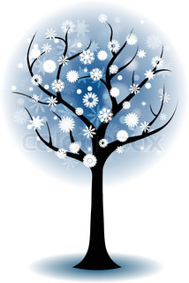 214x320 Season Tree For Winter With Snowflakes Stock Vector Colourbox