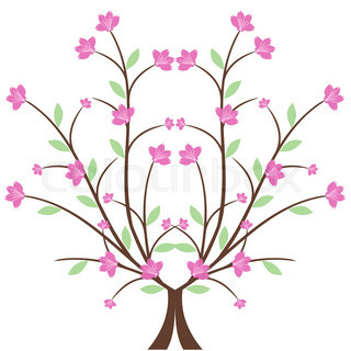 320x320 Abstract Background With Cherry Blossom Branch Isolated Stock