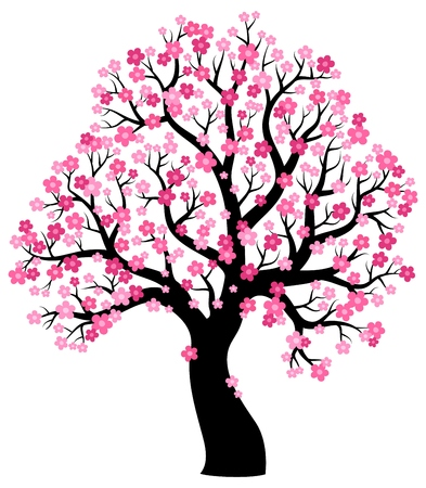 393x450 50263254 Silhouette Of Blooming Tree Theme 1 Eps10 Vector