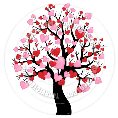 460x460 Cartoon Silhouette Of Tree With Hearts Theme By Clairev Toon