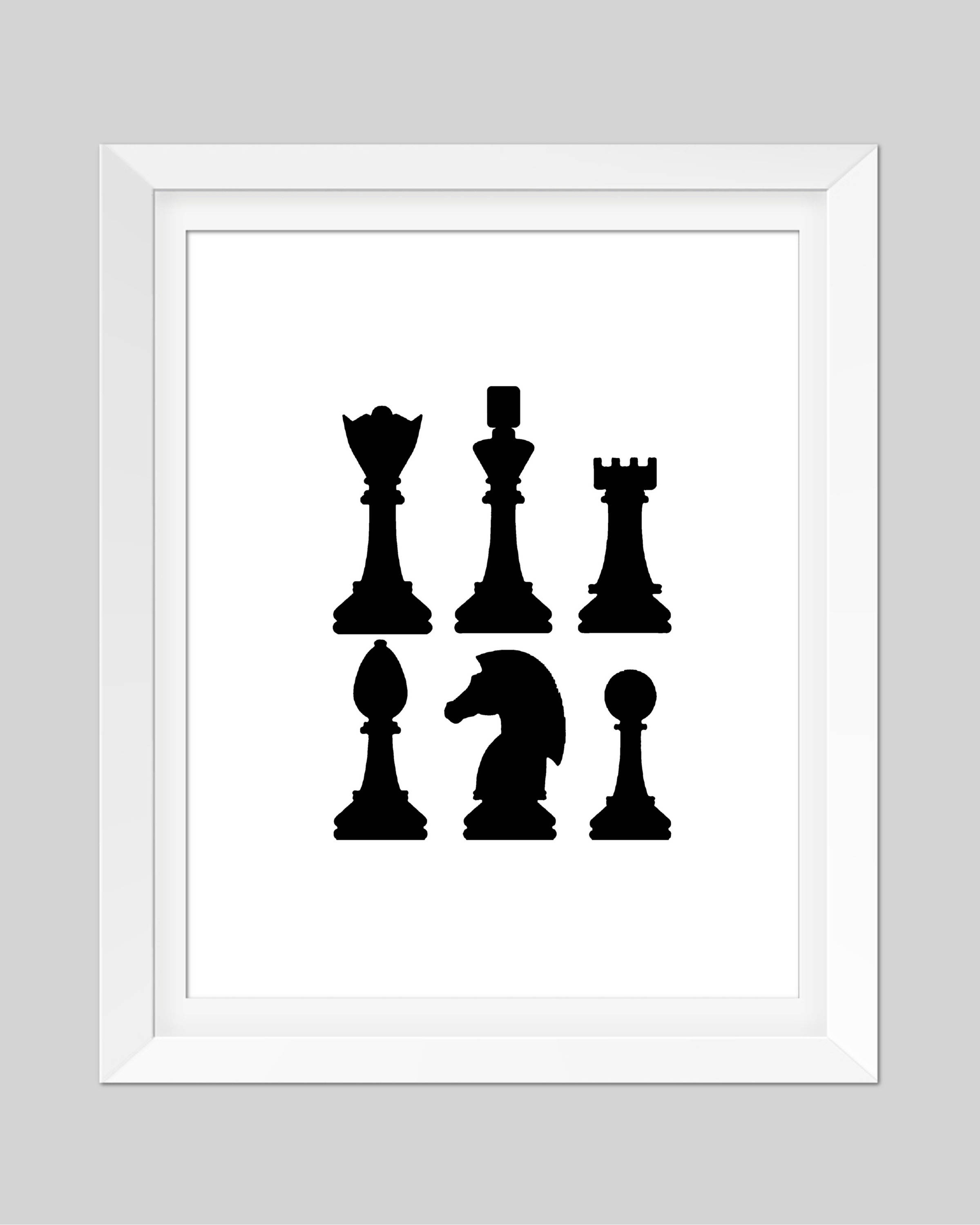 2399x3000 Chess Print Black And White Game Pieces Silhouette