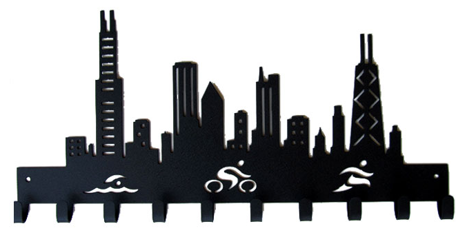 677x341 Chicago Skyline Triathlon Cutouts Medal Hanger Sporthooks