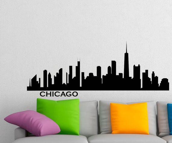 570x475 Chicago Skyline Wall Decal Vinyl Sticker City Silhouette Wall
