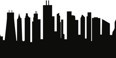 480x241 Chicago, Illinois Skyline Silhouette Cityscape Purses And Pillows