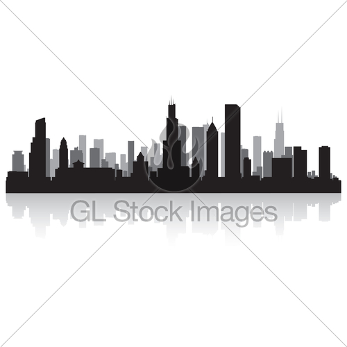 500x500 Chicago City Skyline Silhouette Gl Stock Images