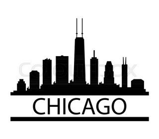 320x280 Chicago Illinois City Skyline Silhouette. Vector Illustration