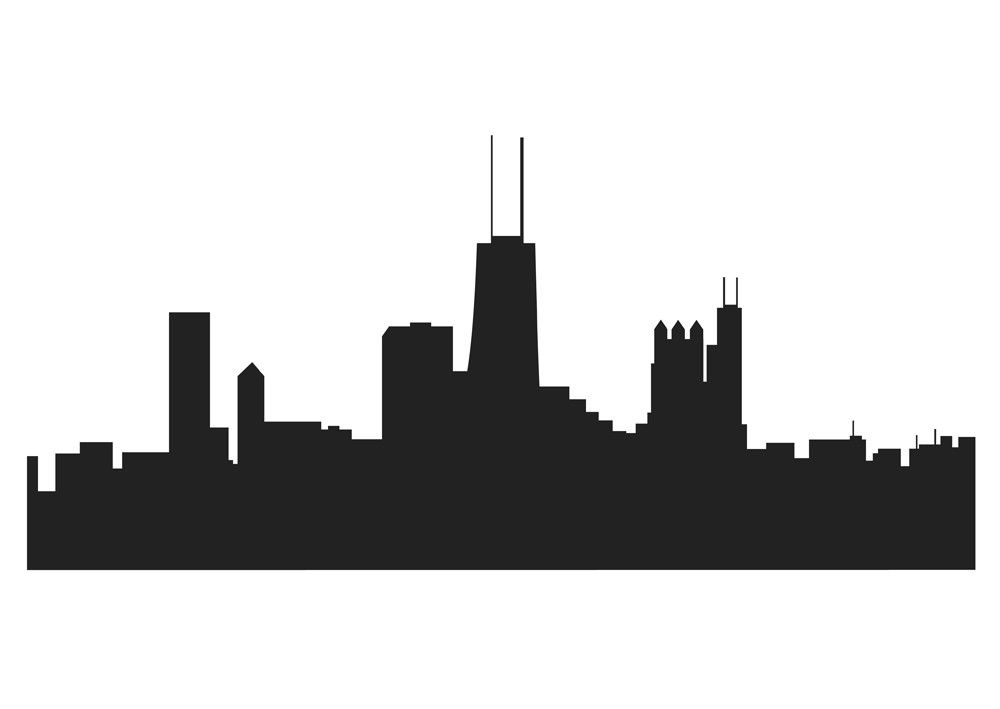 1000x709 Chicago Skyline Drawing 854
