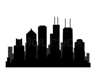 320x280 Chicago City Skyline Silhouette Stock Vector Colourbox