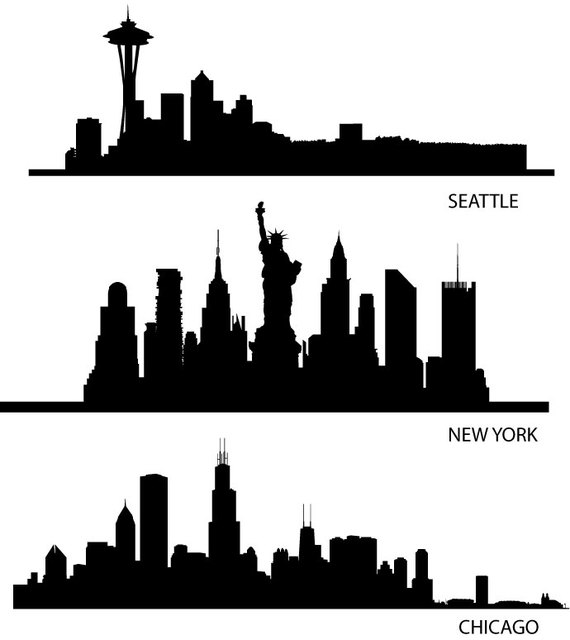 570x640 Chicago Watercolor Skyline Silhouette