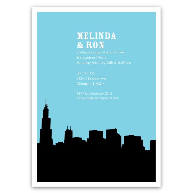 748x748 Chicago Skyline Silhouette Party Invitations Ian Amp Lola Design