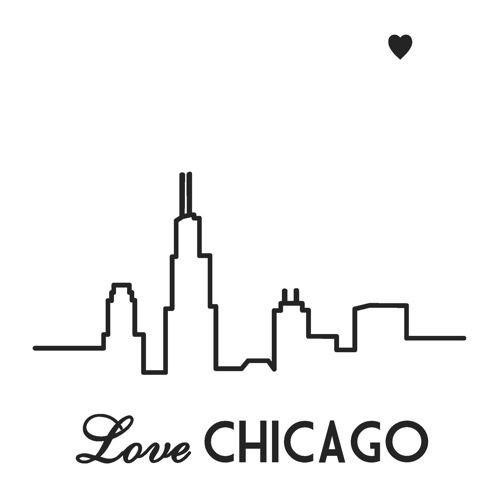 500x494 Chicago Love On Canvas Chicago Skyline, Outlines And Chicago