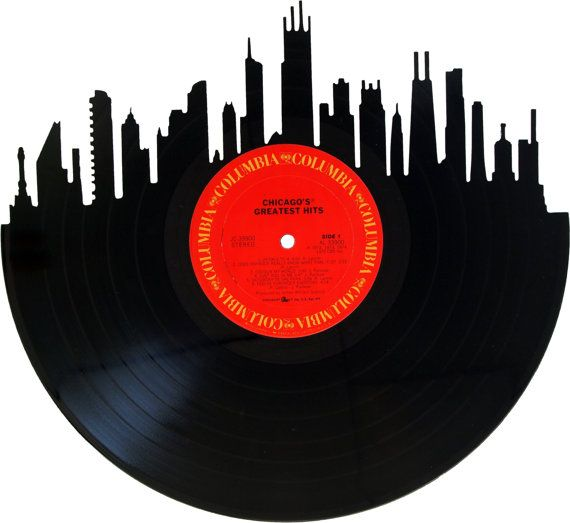 570x523 Chicago Skyline Vinyl Record Wall Art
