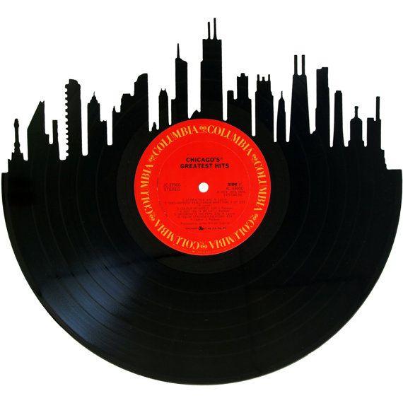 570x570 Chicago Skyline Vinyl Record Wall Art