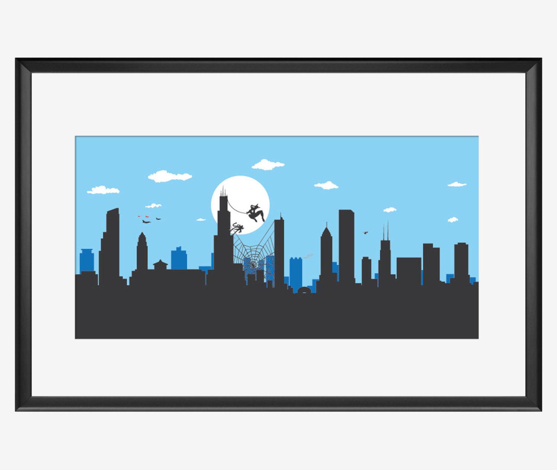 1500x1264 Chicago Skyline Poster Superhero Print Spiderman Inspired