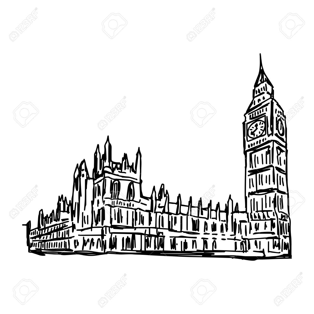 1300x1300 Chicago Skyline Hand Drawn Silhouette Royalty Free Cliparts