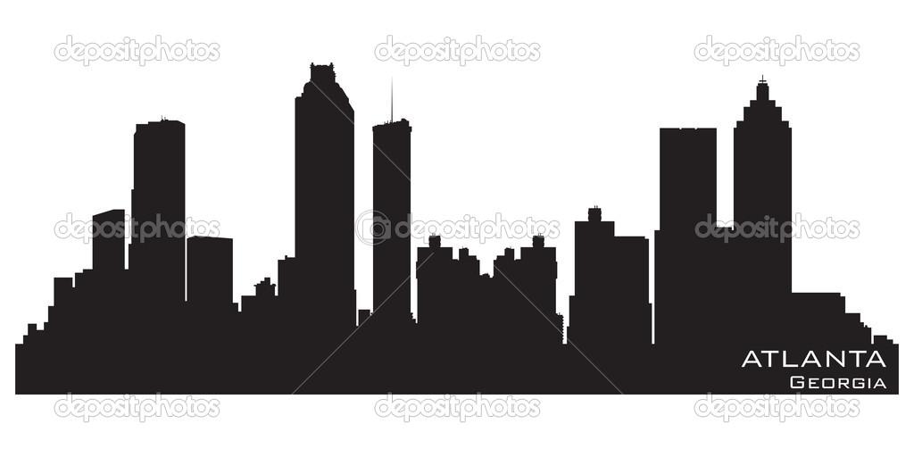 1024x512 Atlanta Skyline Silhouette Clipart