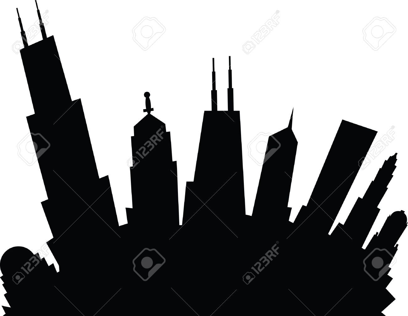 1300x1005 Chicago City Skyline Black And White In Circle Illustration