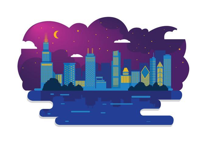 700x490 Chicago Skyline Night Vector