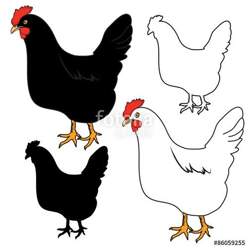500x500 Hen, Chicken Outline Silhouette Vector Stock Image