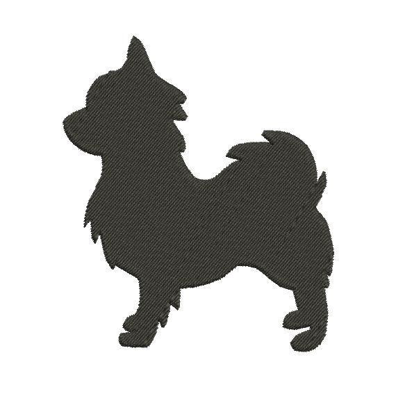 570x570 Long Haired Chihuahua Silhouette Embroidery Design In 2 Sizes