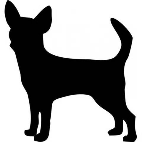 480x480 Chihuahua Dog Puppy Silhouette Outline Custom Decal Sticker