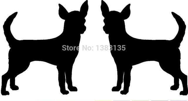 640x343 2 Chihuahua Dog Breed (Right Amp Left) Silhouette Car Sticker