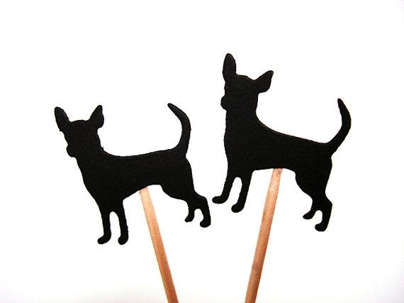 570x427 Black Chihuahua Silhouette Double Sided Cupcake Toppers Inserts