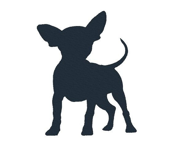 570x479 Chihuahua Silhouette Machine Embroidery Design Dog Design