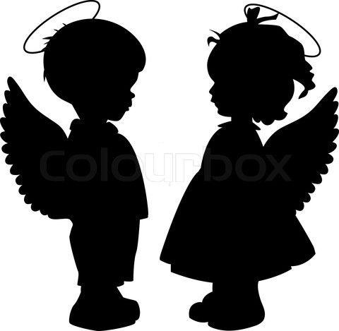 480x469 Baby Angel Silhouette Stock Vector
