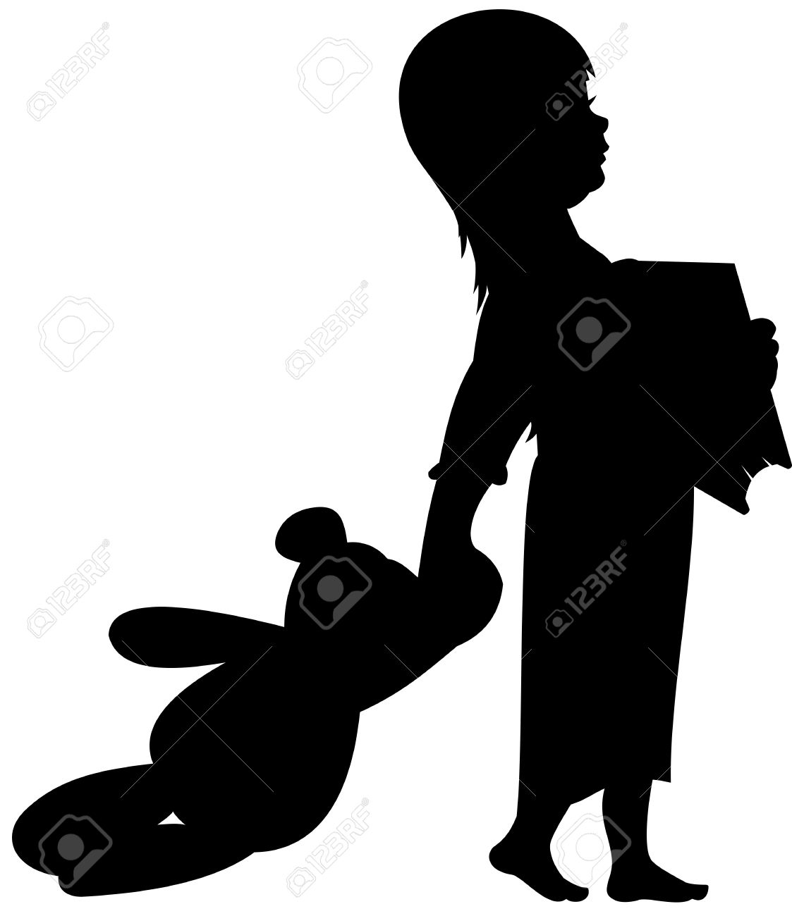 1123x1300 16581517 Silhouette Illustration Of A Child Angel Holding Flowers