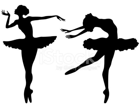 569x440 Prima Ballerina Silhouettes Stock Vector