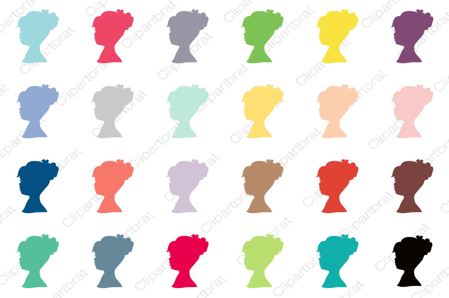 1500x995 Girl Silhouette Clipart For Commercial Use Planner Sticker Clip