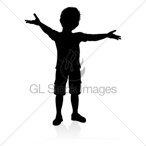 500x500 Child Kid Silhouette Gl Stock Images