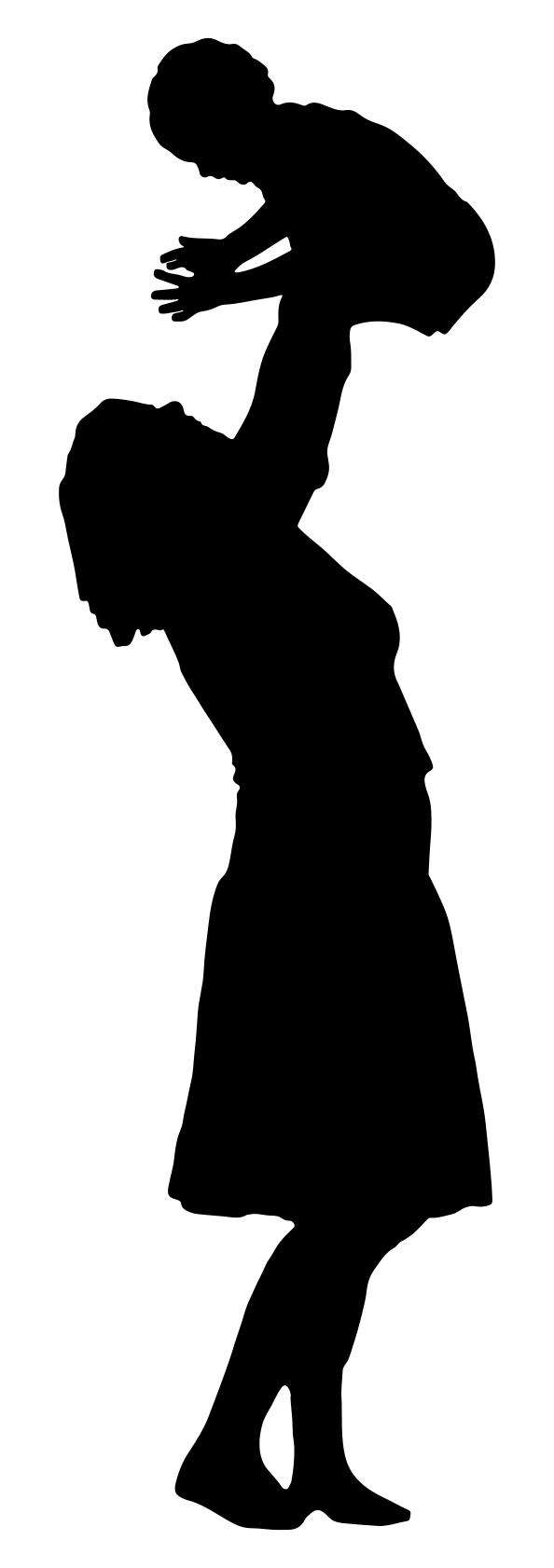 594x1682 Mother Playing With Child Silhouette Clipart