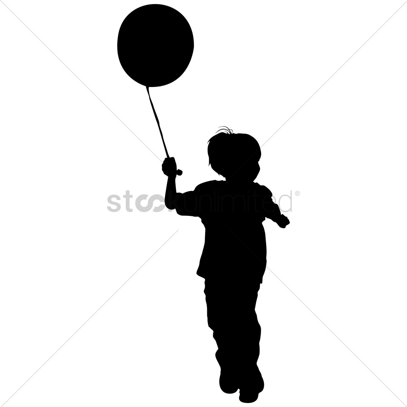 1300x1300 Silhouette Of A Boy Playing With Balloon Vector Image