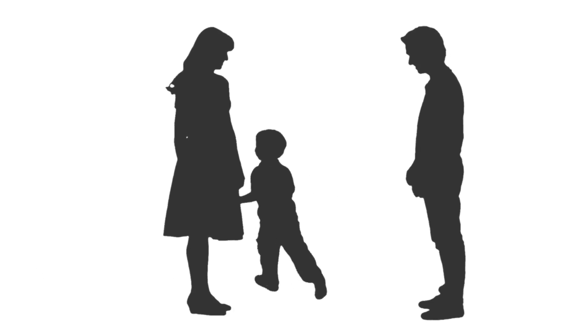 1920x1080 Silhouette Of A Little Boy Playing With His Parents. Full Hd