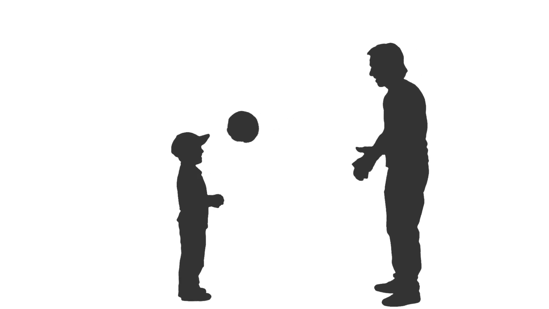 1920x1080 Silhouette Of Male And Child Playing Ball. Side View. Full Hd