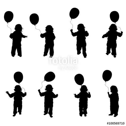 500x500 Child Holding Balloons Vector Silhouette In Black Stock Image